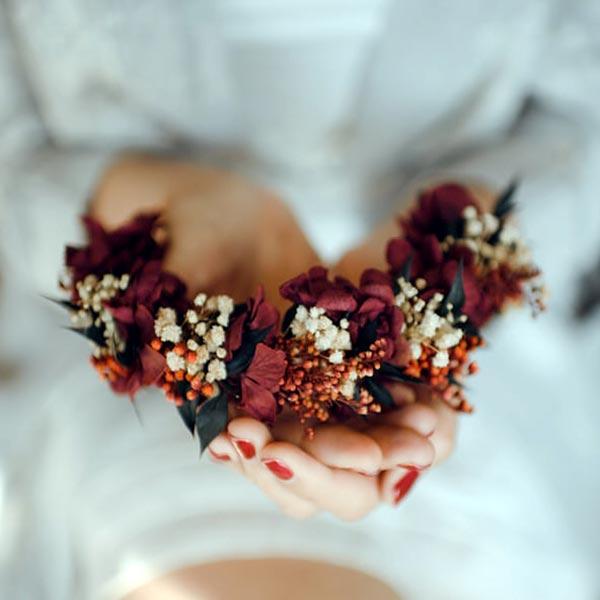 40355d21d tocado de flores para novia - flores preservadas y flores naturales