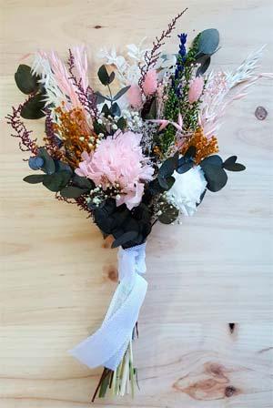 ramo de novia tallo largo flores preservadas