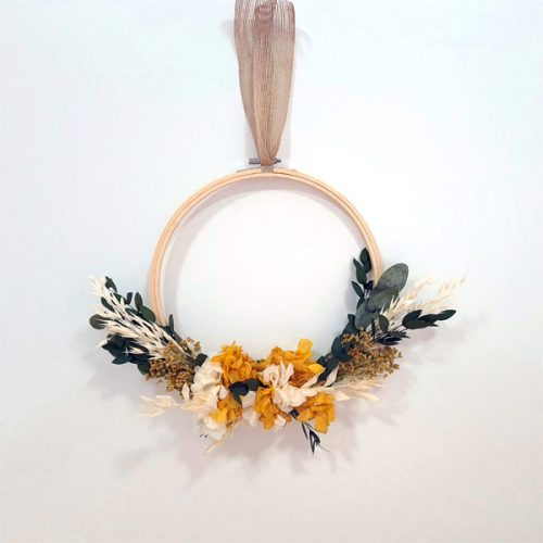 bastidor jaune de flores preservadas