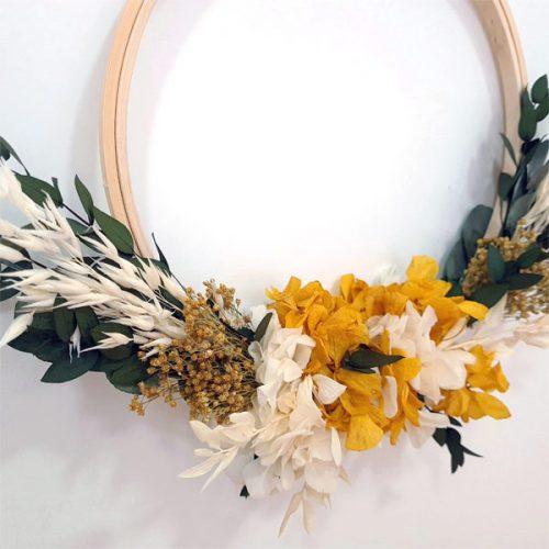 detalle bastidor de flores preservadas
