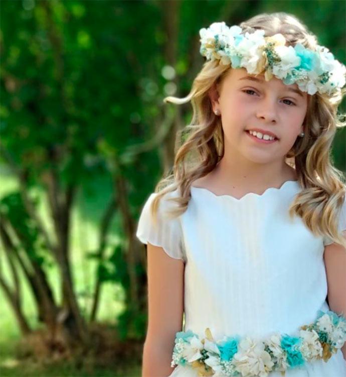 corona de flores para boda complemento para niña