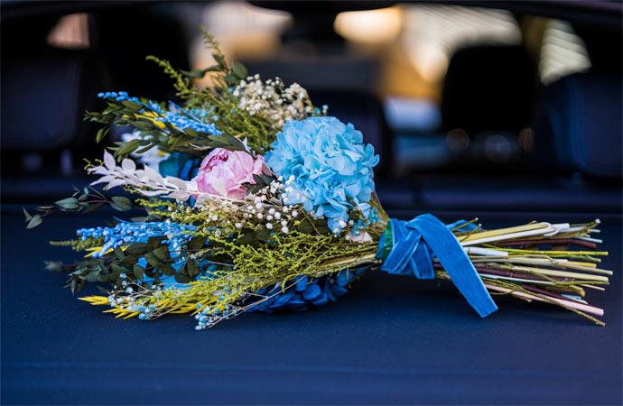 ramo de novia tonos azules