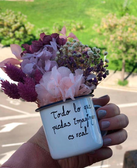 tazas regalo original flores preservadas