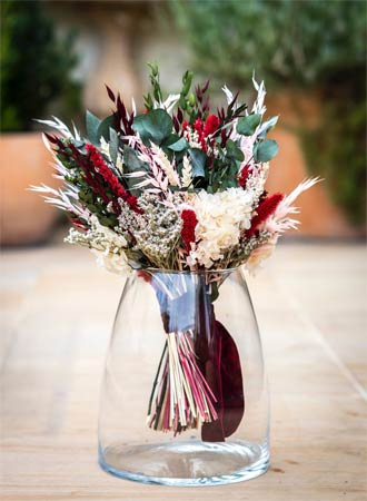 detalle ramo de novia con flores preservadas