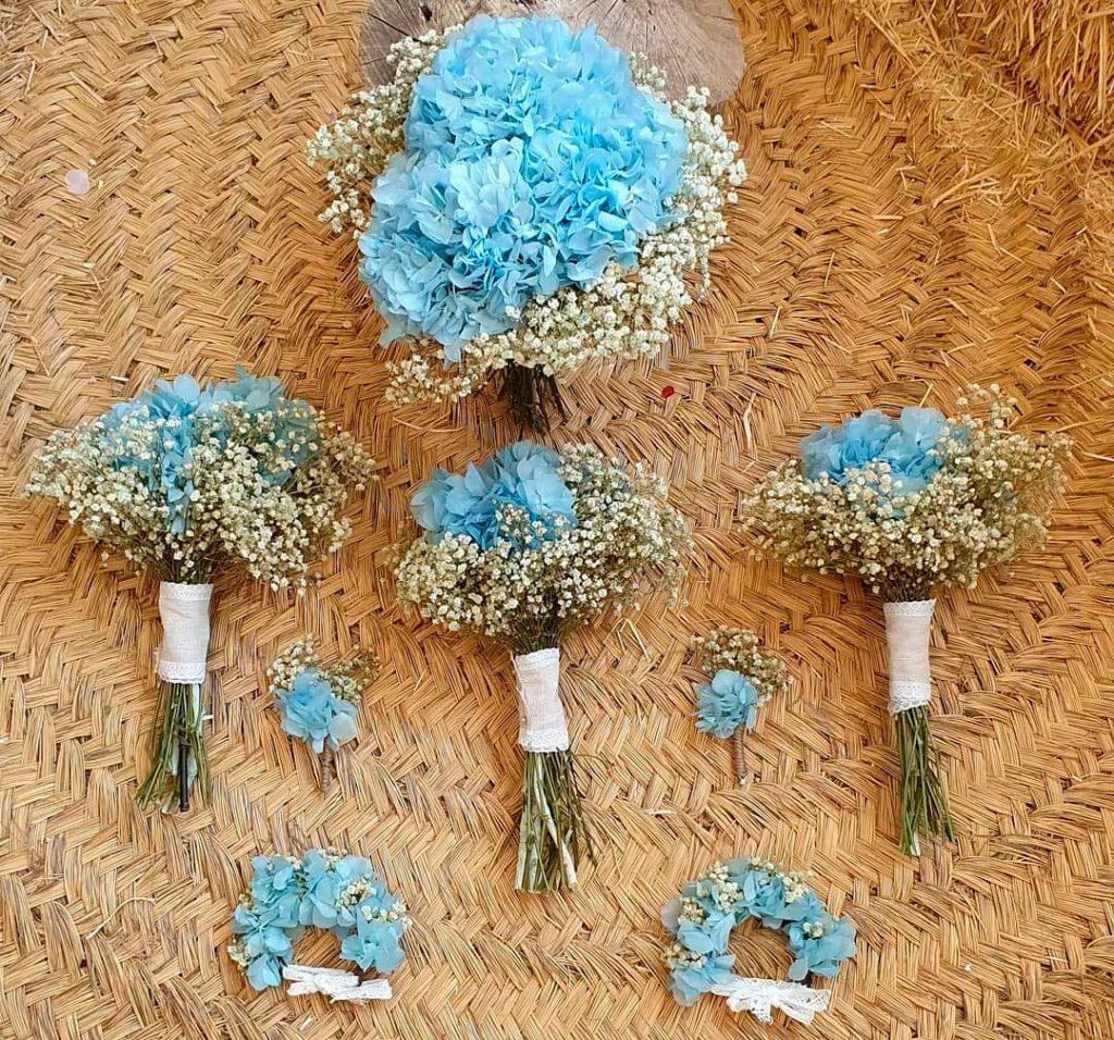 réplica del ramo de novia en pulsera de flores preservadas