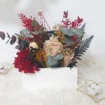 cajón de flores preservadas decoración navidad 2019