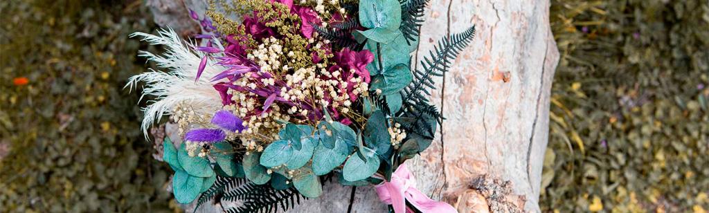 ramo de novia con flores preservadas