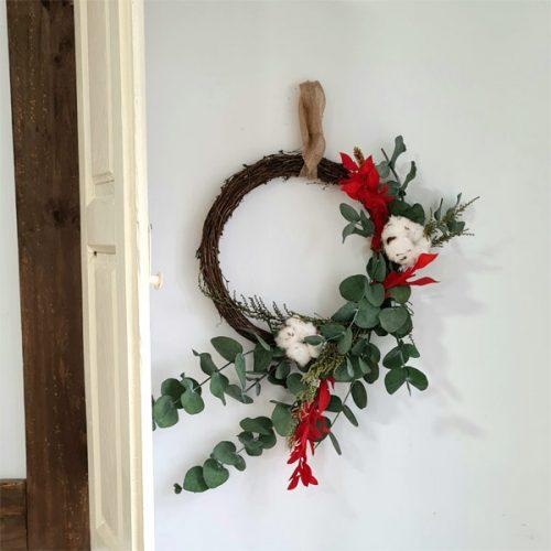 adorno de navidad corona de eucalipto