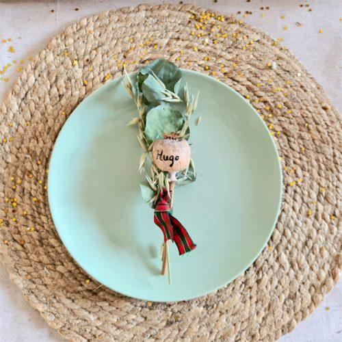 ramillete de navidad decoración de plato