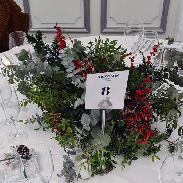 centro de mesa para boda en el hotel palace de Madrid