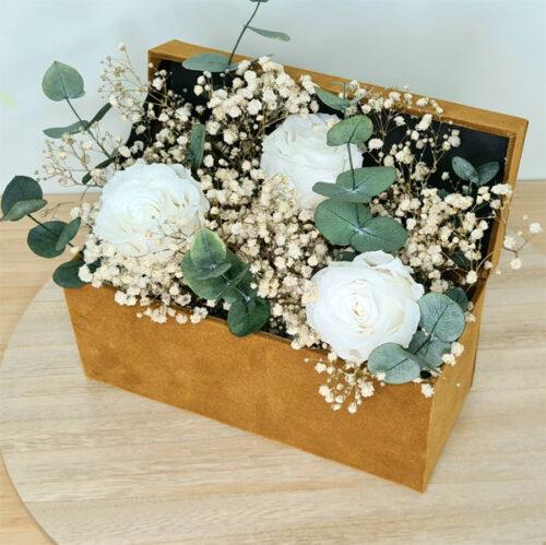 caja velvet centro de flores preservadas