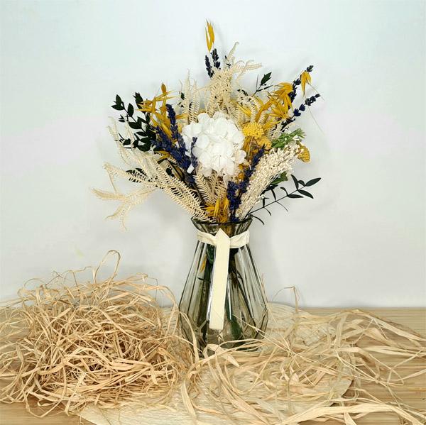 jarrón tokyo de cristal con flores