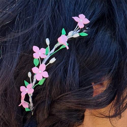 tocado pradera de flores para novia