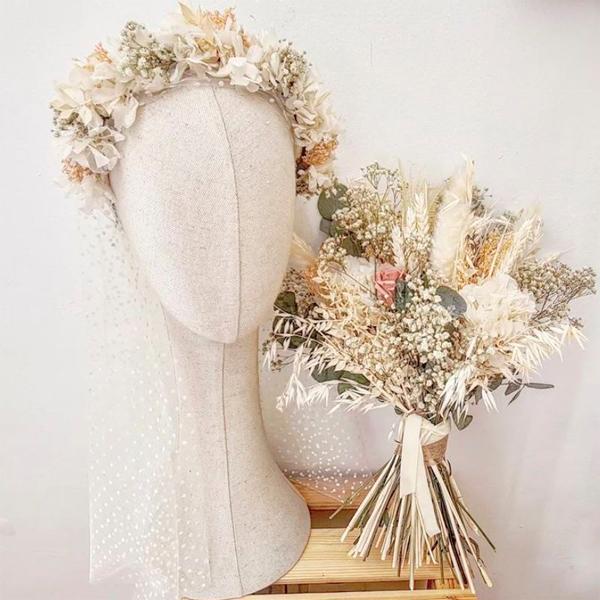 maxi diadema de flores preservadas